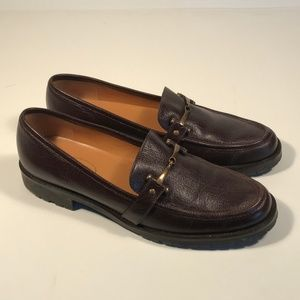 Talbots Brown Leather Bit Loafers Women 9 AA